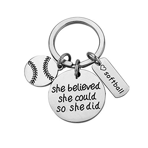 FY Softball Keychain she Believed she Could so she did Keychain Gift for Softball Player -