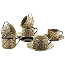 Teacups And Saucers Set Of 6 by Classic Coffee & Tea – Complete Coffee Cup & Tea Cup Set - Vintage Porcelain Set In Beautiful Pastel Colors with Gold Plated Rims & Handles – Unique Gift Idea - 7oz