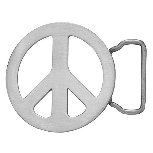 Buckle Rage Adult Unisex Metal Peace Sign Hippie Cute Retro Belt Buckle Silver