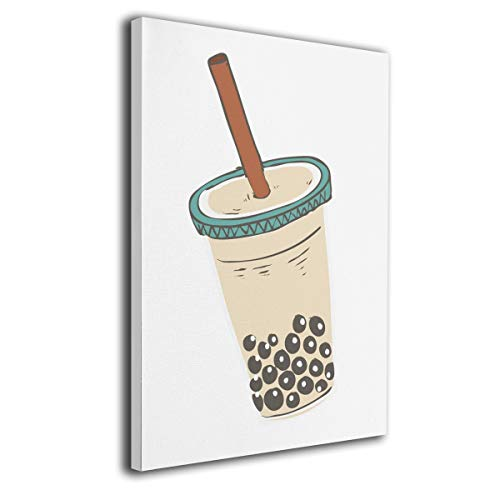 Hateone Bubble Tea Drink Art Colorful 16 X 20 Inch Unframed Decorative Painting Canvas Wall Art Hanging Picture Artwork Wall Decoration for Living Room Bedroom Home Decor
