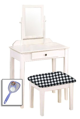 New White Wooden Make Up Vanity Table with Mirror & Black and White Polka Dot Themed ()