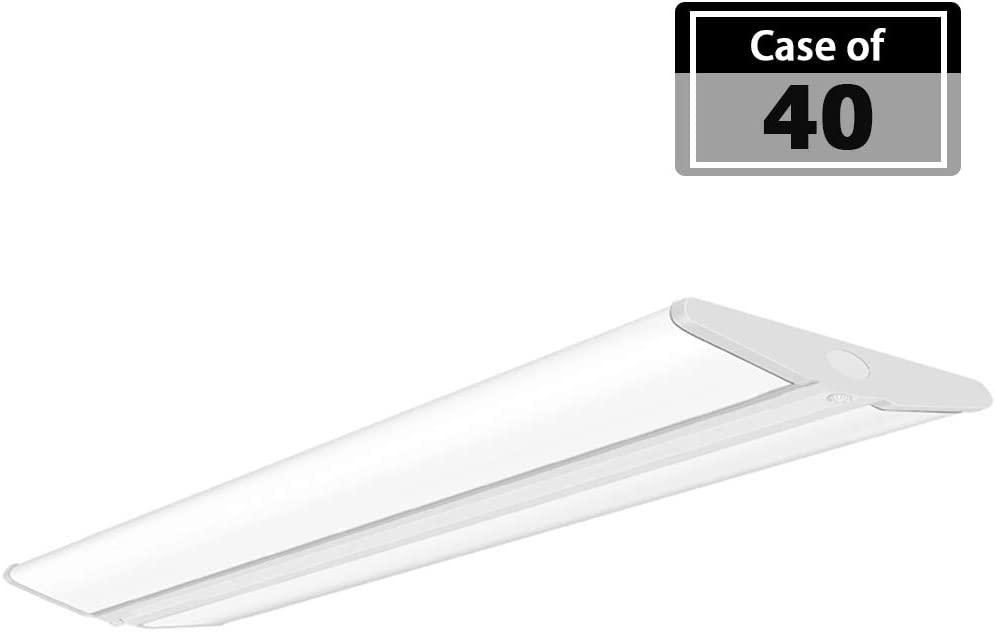 Case of 40, AntLux 72W 4FT LED Wraparound Office Light, Ultra Slim LED Garage Shop Lights Flush Mount, 8000 Lumens, 4000K, No Glare, 4 Foot Wrap Ceiling Lighting Fixture, Fluorescent Light Replacement