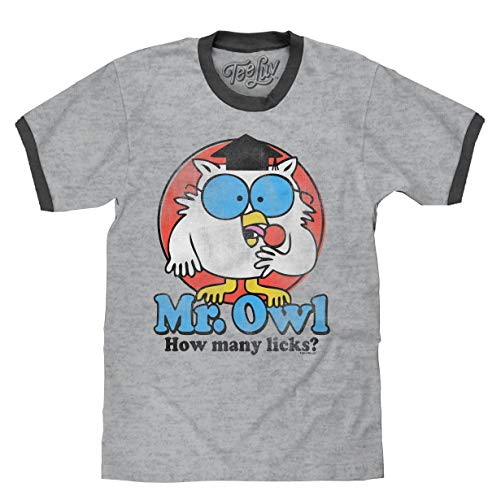 Tee Luv Mr. Owl How Many Licks? T-Shirt - Mr. Owl Ringer Shirt (Medium) ()