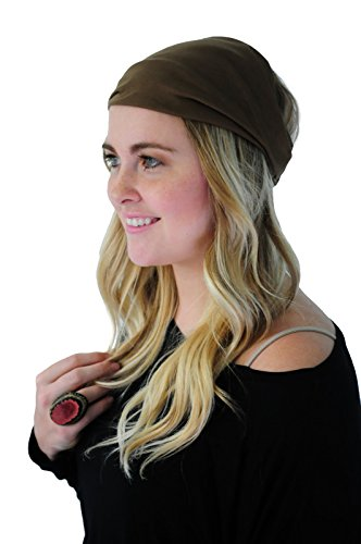 Boho Headband Mocha Coffee Jersey Knit Expandable Headband Headwrap Headwear (Band Jersey)