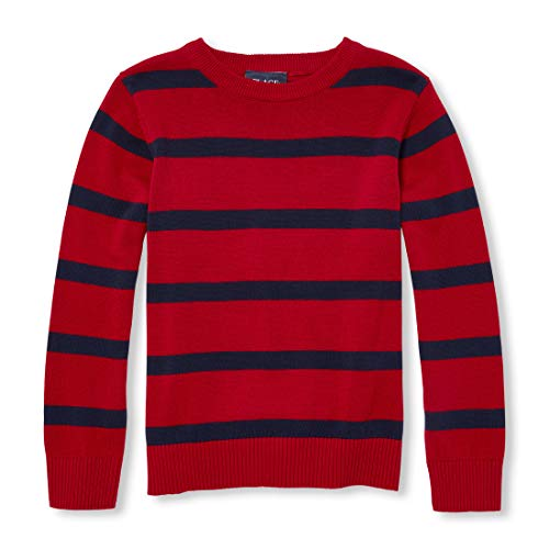The Children's Place Big Boys' Kid Long Sleeve Stripe Sweater, red Colonial, XL (14) ()