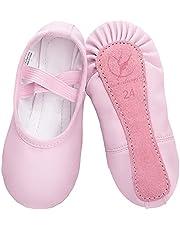 Balletschoenen van leer voor meisjes, balletschoenen, dansschoenen met hele leren zool, voor kinderen, dames, maat 22-40, roze beige zwart
