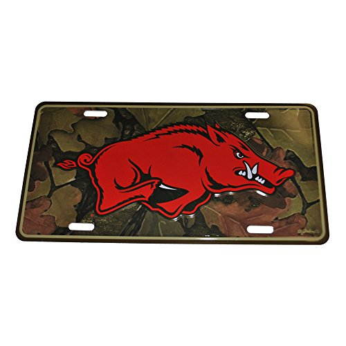 Arkansas Razorbacks Red Hog with Camouflage Background License - Arkansas Fayetteville Shopping