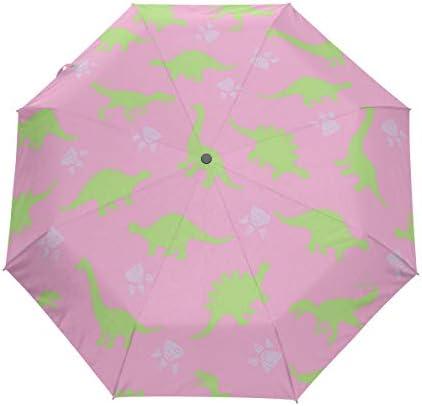 Akiraki 折りたたみ傘 レディース 軽量 ワンタッチ 自動開閉 メンズ 日傘 UVカット 遮光 恐竜 グリーン ピンク 可愛い かわいい エレガント 折り畳み傘 晴雨兼用 断熱 耐強風 雨傘 傘 撥水加工 紫外線対策 収納ポーチ付き
