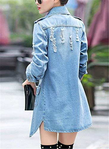 Chic Cappotto Donna Casual Strappato Single Autunno Fit Moda Giubotto Anteriori Slim Tasche Breasted Di Cute Bavero Blu Elegante Manica Lunga Jeans dawUqnra