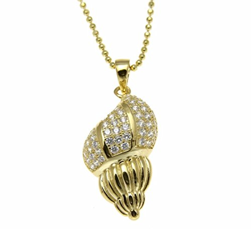 925 Sterling silver yellow gold plated Hawaiian conch snail shell charm pendant cz