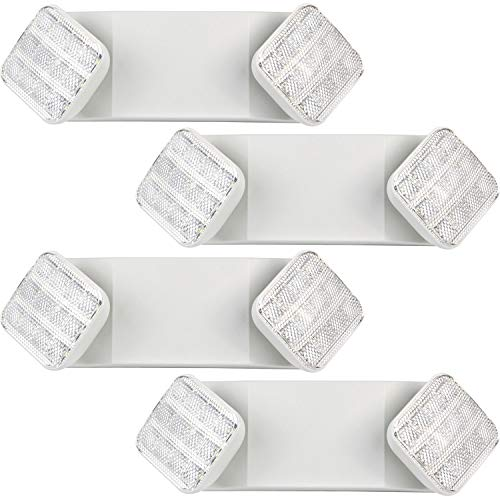 Hykolity Two Head LED Adjustable Wall-Mount White Emergency Light Fixture with Battery Back-up - 4 Pack