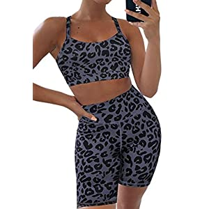 Aleumdr Womens Yoga Outfits 2 Piece Set Workout Athletic Leopard Print Shorts Leggings and Sports Bra Set Gym Clothes