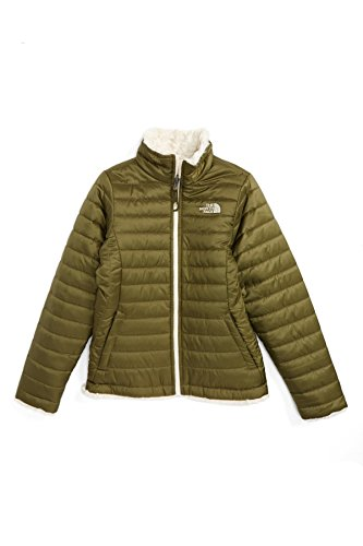 The North Face Girls Reversible Mossbud Swirl Jacket (Burnt Oliv, S (7/8)) by The North Face
