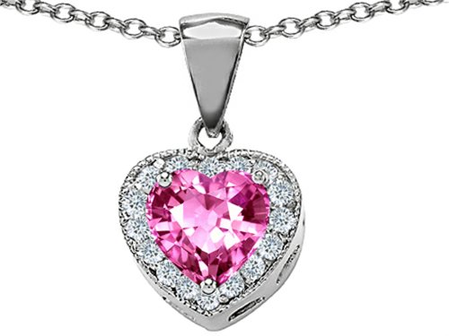 (Star K Created Heart Shaped Pink Sapphire Pendant Necklace Sterling Silver)
