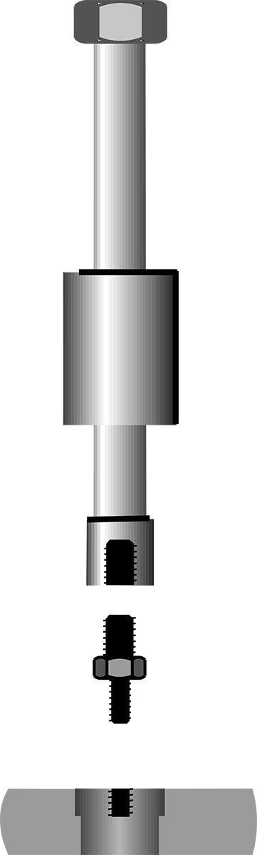 10,1 M10 GEDORE 1.81//1 Gewindeadapter-Satz f/ür 1-Loch-Anwendungen