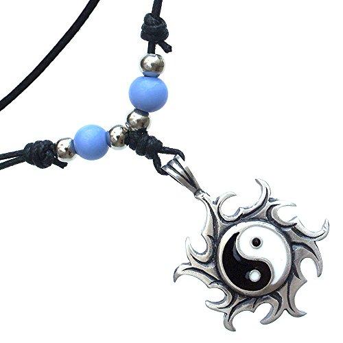 Yin Yang Sun Firewheel Pewter Pendant W handmade Adjustable - Firewheel Shops