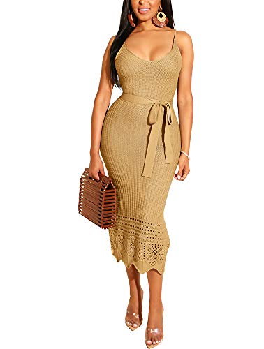 Crochet Spaghetti Strap - Women's Spaghetti Strap Midi Dress - Cute Bowknot Crochet Slip Dress Medium Camel