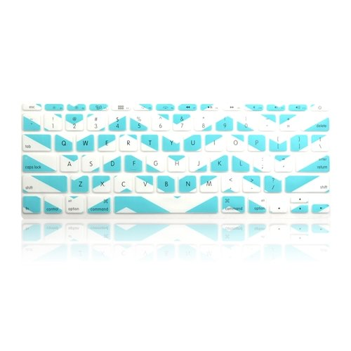 TOP CASE White Chevron Series Zig-Zag Silicone Keyboard Cover Skin Compatible with Macbook Air 11 + TOP CASE Mouse Pad (Macbook Air 11, Hot Blue and White)