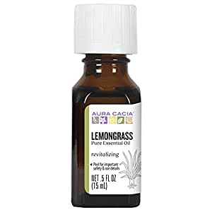 Aura Cacia Lemongrass Essential Oil | GC/MS Tested for Purity | 15ml (0.5 fl. oz.)