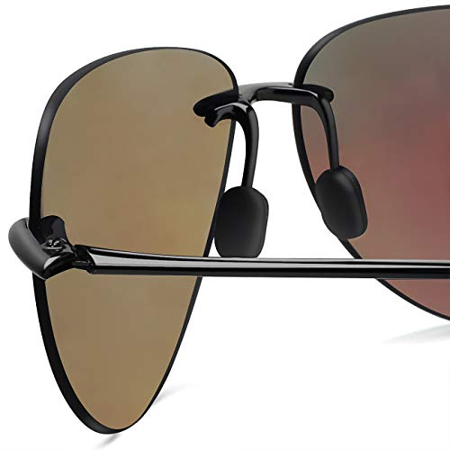 a9ac89fde396 JULI Sports Sunglasses for Men Women Tr90 Rimless Frame for Running Fishing  Golf Surf Driving Cycling