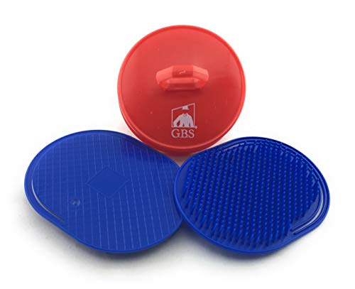 GBS Soft Pocket Shower Palm Brush + Invigorating Shampoo Brush! Massage and Head Scratcher. Made In USA 3-Pack - Blue with Red Shampoo Brush - Head Scrubber Promotes for Hair Growth for Women Men!