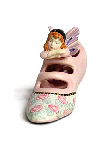Miniature Fairy Garden Ceramic Fairy Sleeping in Hand Painted Pink Roses Victorian Shoe, Fairy Garden Kit, Fairy Garden Accessories, Garden Decor, With FREE DOLLHOUSE ROUND WICKER END TABLE - Pink Fairies Victorian Flowers