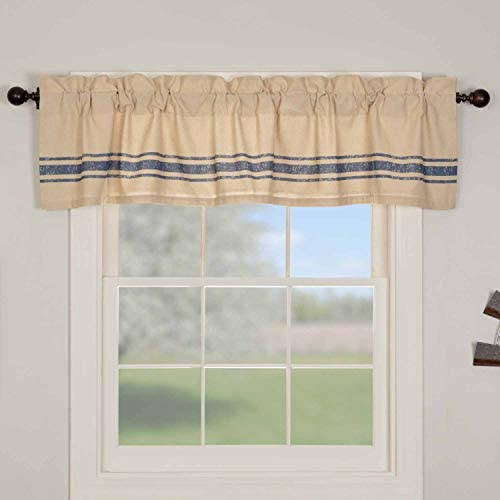 Piper Classics Fresh Picked Valance, 16 Long x 72 W, Printed Navy Blue Grain Sack Stripes, Farmhouse Style Kitchen or Bath Window Curtain