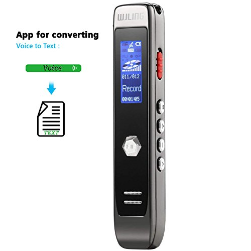 Voice Recorder, Digital Voice Sound Recorder, 8GB USB Transcribe APP Voice Recorder, MP3 Player, Noise Reduction, Multi-connectors Dictaphone for Lectures, Meetings