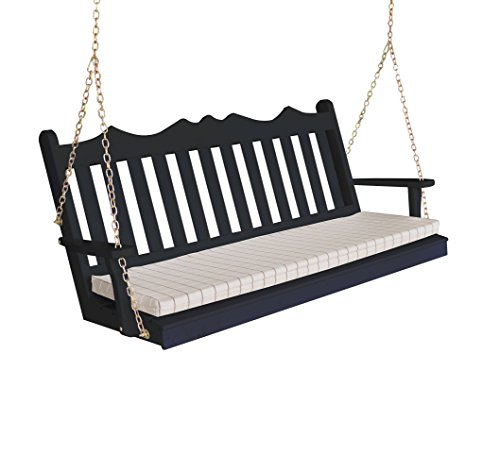 Wood Porch Swing, Amish Outdoor Hanging Porch Swings, Patio Wooden 2 Person Seat Swinging Bench, Classic Front Porches Furniture, Outside Furnishings,5 Foot English Garden (5ft, Black)