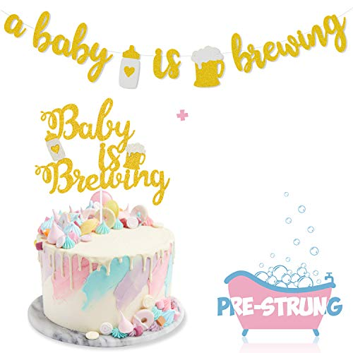 A Baby is Brewing Baby Shower Banner & Baby is Brewing Cake Topper for Gender Reveal Party Decoration Diaper Party Decor Pre-assembled Baby Brewing Theme Baby Shower or Baby Sprinkle Kit