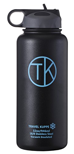 TK Ice (32 oz) Vacuum Insulated Stainless Steel Sports Water Bottle with Straw Lid - Keeps Hot & Cold Beverages Up To 48 Hours - Double Walled Thermos Water Bottle - Insulated Coffee Mug