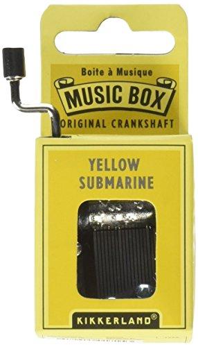 KIKKERLAND Happy Birthday Crank - Caja de música, Submarino amarillo, Plateado, 1
