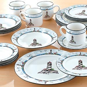 Amazoncom 32 Piece Nautical Lighthouse Dinnerware Set Kitchen