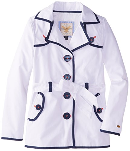 Tommy Hilfiger Big Girls' Trench Coat, White, Small