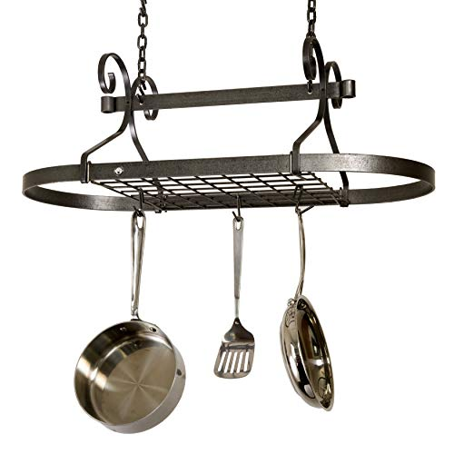 - Enclume Decor Oval, Ceiling Pot Rack, Hammered Steel