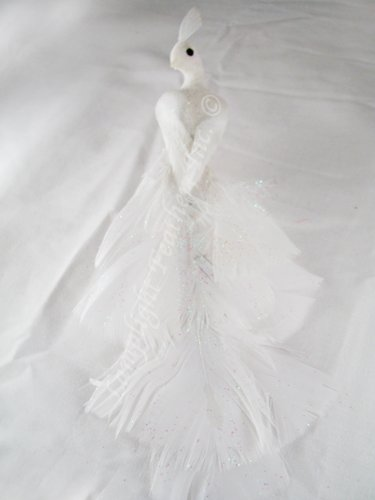 Artificial White Peacock Bird 8 Inch, with wired feet, for Wedding or Christmas Decoration