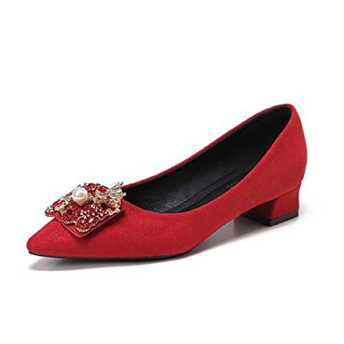 HXVU56546 Frühling Und Herbst Schuhe Der Frauen Wasser Bohren High Heels Und Flach Flacher Schuhe Red A