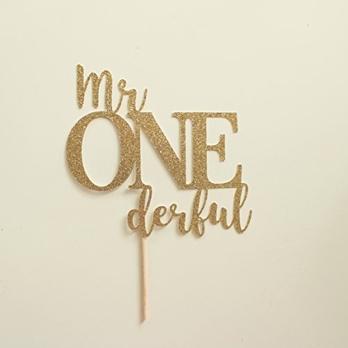 Gold Glitter Mr Onederful Cake Topper, Gold First Birthday Pick, Wonderful, Boys 1st Birthday Decorations, Sign by Paper & Parties