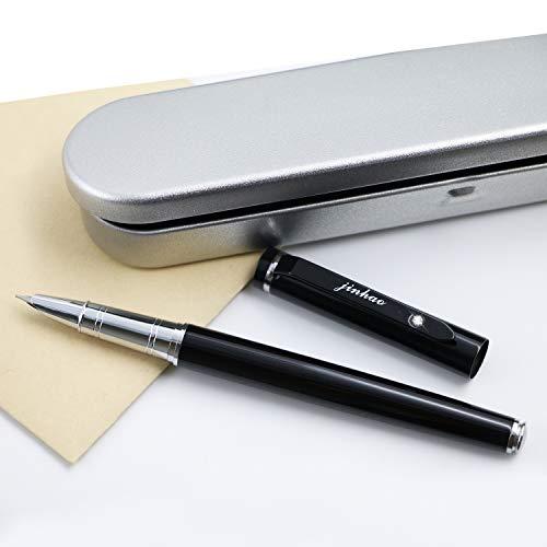 JinHao 101 Black Fountain Pen Set 0.38mm Extra Fine Nib Writing Calligraphy Ink Pens with Metal Pen - Box Metal Pen