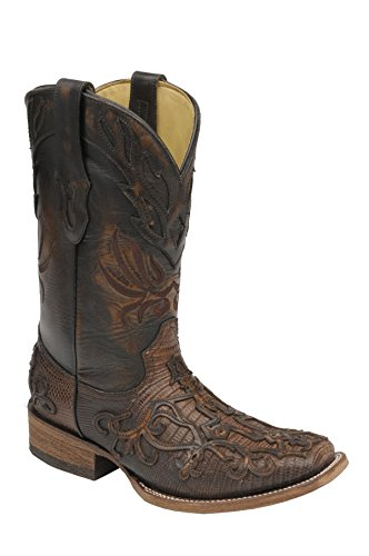 - CORRAL Men's Cognac Teju Lizard Inlay Square Toe Cowboy Boots C1197 (15 D(M) US)