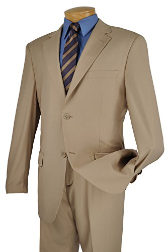 Vittorio St. Angelo Men's 2 Button Single Breasted Dress Suit - Jacket Dress Tan