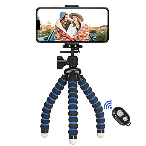 Phone Tripod,iPhone Tripod Portable Flexible Camera Stand Mini Holder with Wireless Remote Shutter and Universal Clip…