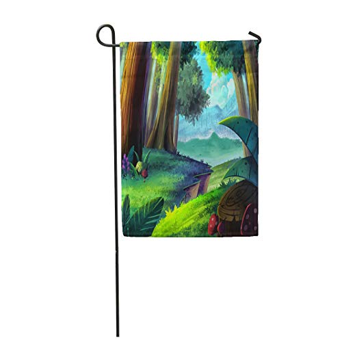 Semtomn Garden Flag 12x18 Inches Print On Two Side Polyester Anime Cartoon Forest Realistic Style Scene Design Child Story Field Book Scenery Home Yard Farm Fade Resistant Outdoor House Decor Flag ()