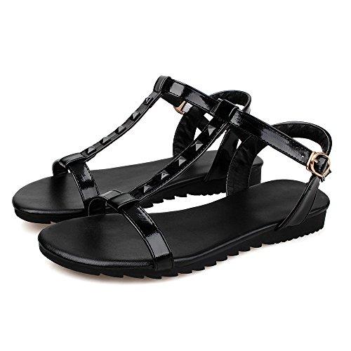 Womens Open Toe Flat PU Fashion Sandals with Rivets Black - 1