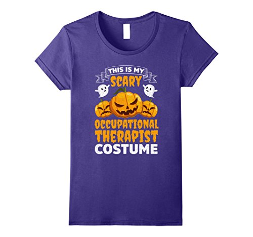 Occupational Costumes (Womens Scary Occupational Therapist Costume Funny Halloween Shirt Small Purple)