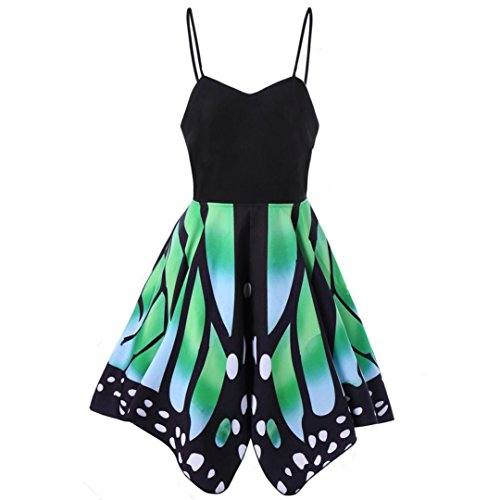 Party/Dance/Carnival/ST. Patrick s Day Costumes,brydon Women High Waist  Butterfly Short Sleeves Printing Asymmetry Straps Dress: Amazon.co.uk:  Clothing