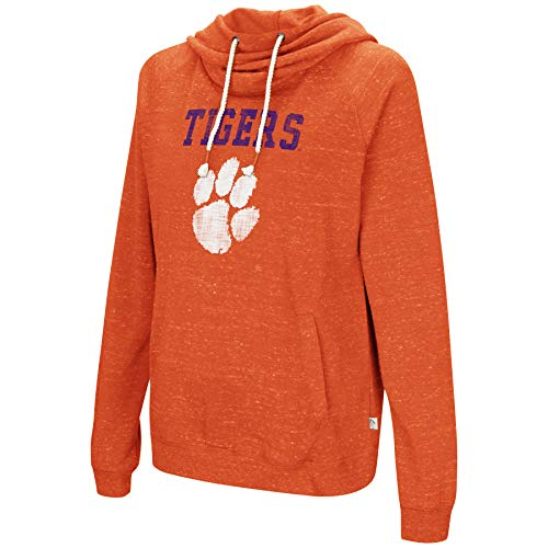 Colosseum NCAA Women's-I'll Go with You-Cowl Neck Hoody Sweatshirt-Team Color and Distressed Vintage Logo-Clemson Tigers-Orange-Medium (Distressed Vintage Sweatshirt)