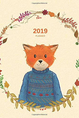 2019: Planner - 12 Months - 1 Day per Page - January 2019 to December 2019 -  Agenda, Calendar, Schedule Organizer and Journal Notebook - Friendly Fox JellyfishPlanners