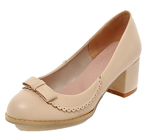 Amoonyfashion Dames Pull-on Kitten-hakken Pu Stevige Ronde Neus Pumps-schoenen Beige