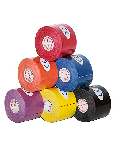 (Kinesiology Tape Pro, Athletic Waterproof Muscle Support Adhesive Kinesio Sport Tape for Athletes 2 inches x 16.4 feet, 6 Rolls, Assorted)